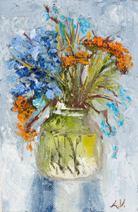 Bouquet with tansy by Ludmila Volostnova, 10cm*15cm, oil painting