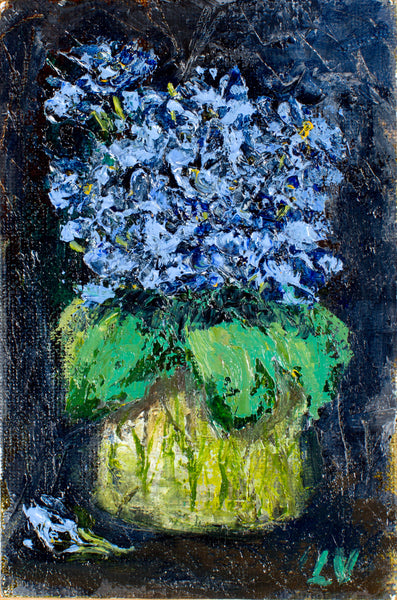 Blue flowers by Ludmila Volostnova, 10cm*15cm.  oil painting