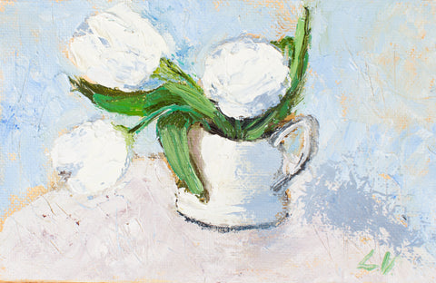 White tulips by Ludmila Volostnova, 10cm*15cm, oil painting