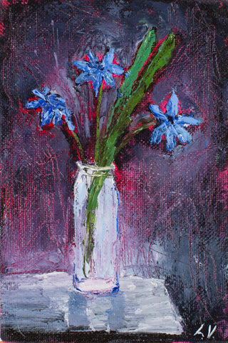 First flowers by Ludmila Volostnova, 10cm*15cm,  oil painting