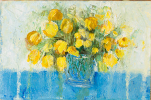 Yellow tulips by Ludmila Volostnova, 10cm*15cm, oil painting
