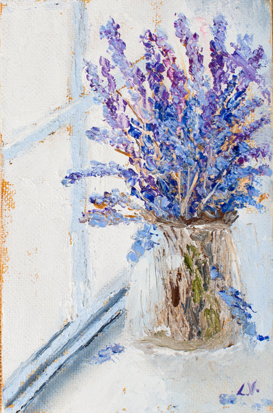 Lavender at the window by Ludmila Volostnova, 10cm*15cm.  oil painting
