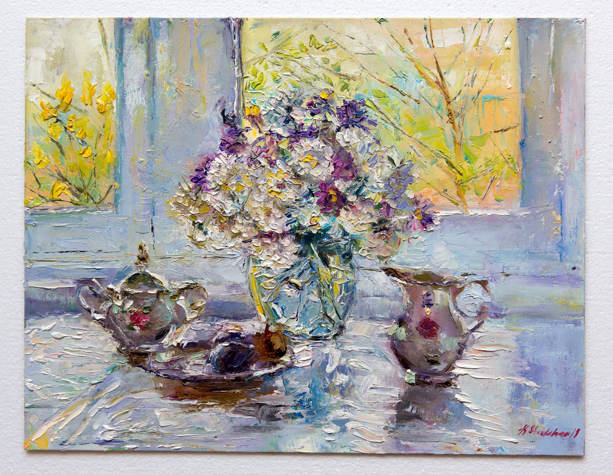 Still life with tea service by Kristina Shestakova, 45cm*35cm, oil painting