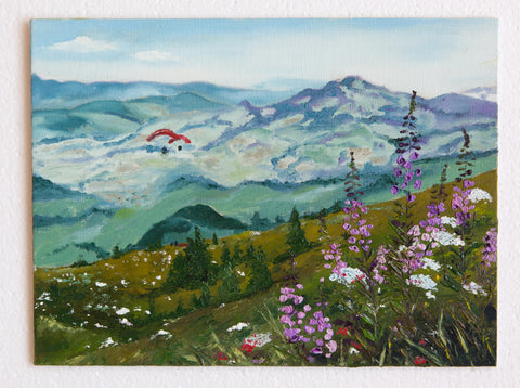 Free flight above the summit by Oksana Azizova, 18cmx24cm, oil painting