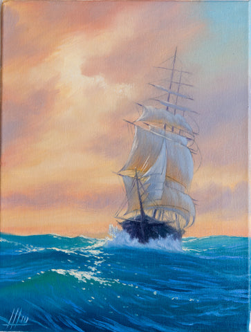 On the waves by Ivan Sheremetyev, 30cm*40cm, oil painting