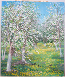 Apple trees in blossom by Anna Kreydun, 50cm*60cm, oil painting
