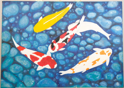Koi fish by Oleg Putyanin, 50cm*70cm, oil painting on canvas