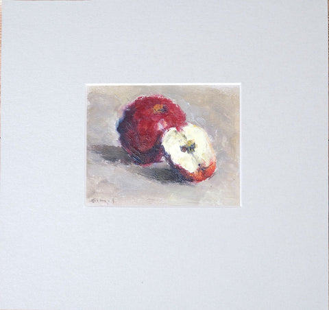 Ripe apples by Aleksander Popov, 10cmх7,5cm, (with mat 19,5cmх18,5сm), oil painting