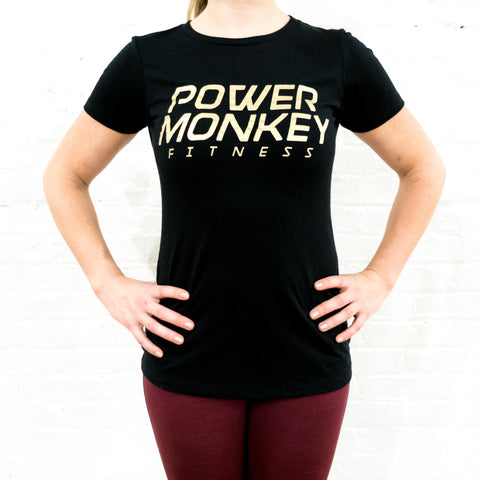 Women's Power Monkey Fitness T-Shirt (Black w/ Gold Logo)