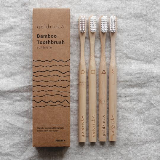 Bamboo Toothbrush - 4 Pack, plastic free, zero waste, sustainable, Mos eco store, Portugal, Europe,