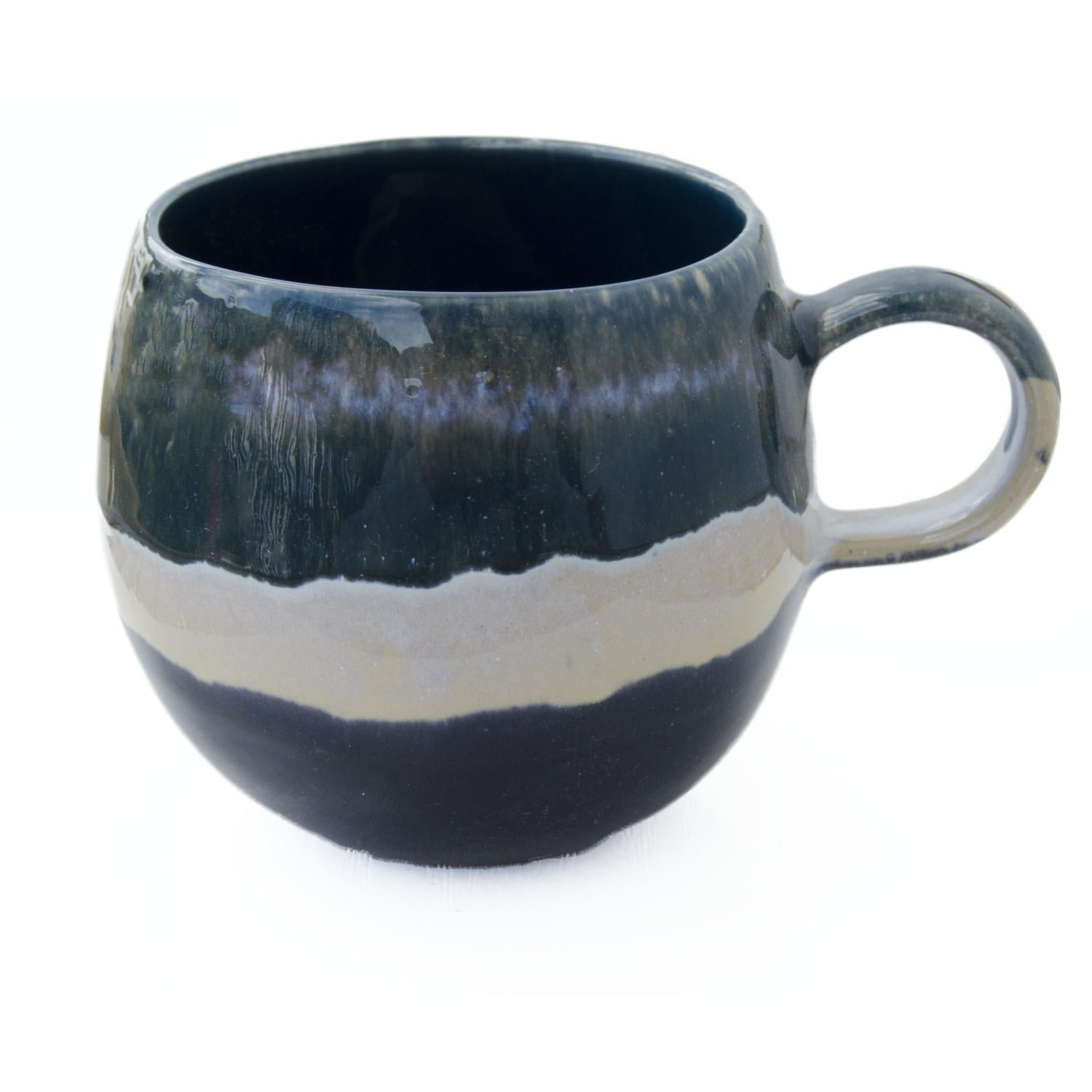 Tonel Dark Green Black and Beige Stoneware Mug