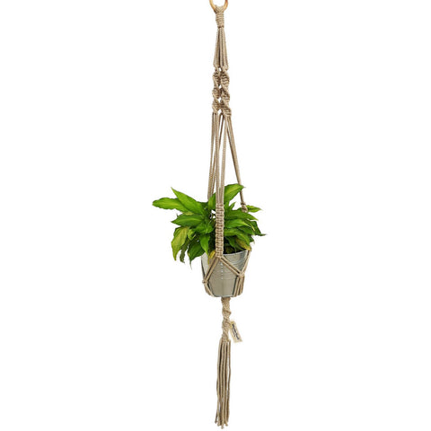 Macrame, Single Plant Holder, Dark Beige - Mos eco store