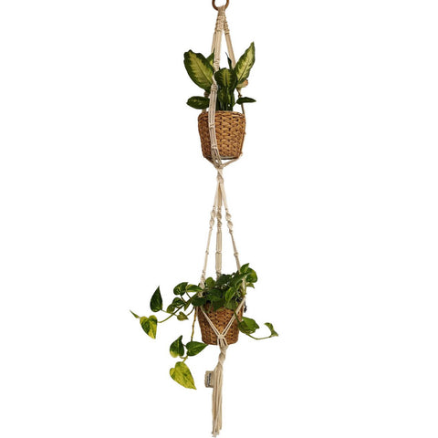 Macrame, Double Plant Holder, Light - Mos eco store