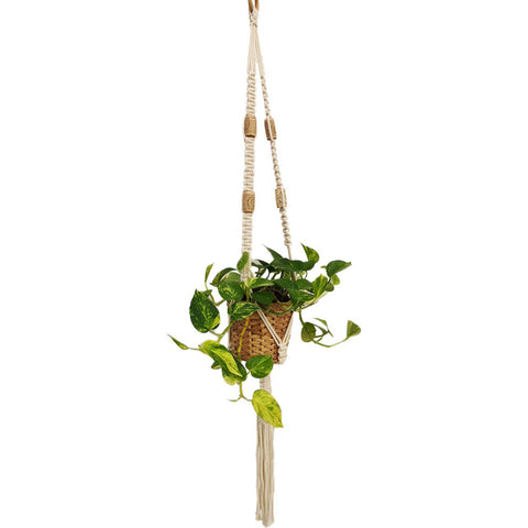 Macrame, Single Plant Holder, Light W/Cork - Mos eco store