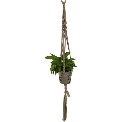 Macrame, Single Plant Holder, Grey - Mos eco store