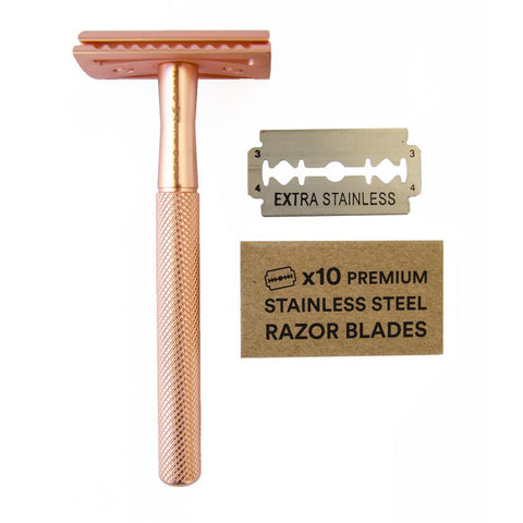 Reusable Stainless Steel Razor - 10 Blades Included