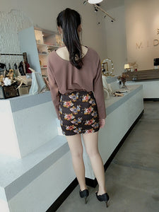 Vintage Flora Tight Skirt in Dark Brown