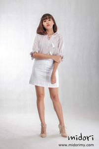 Duo Button Skirt In White