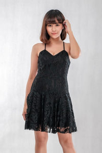 Spaghetti Lace Dress in Black