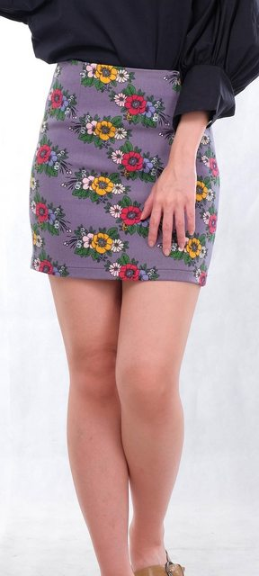 Vintage Flora Tight Skirt in Grey