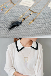 Amerindian Feather Trio Long Necklace