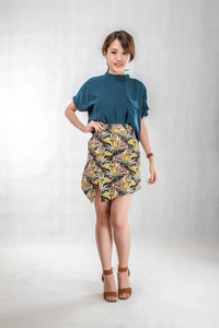 Leaves Printed Skirt in Brown