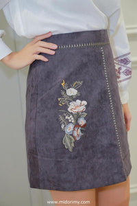 Heather Floral Skirt in Grey