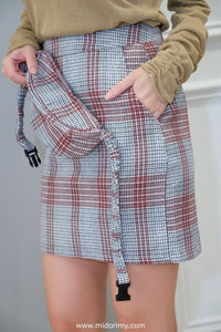 Isabella Checkered Skirt in Red