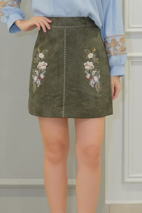Heather Floral Skirt in Green