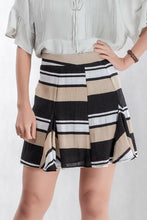 Load image into Gallery viewer, Stripe Line Frayed Skirt In Brown