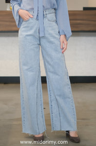 Broad Leg Jeans in Light Blue