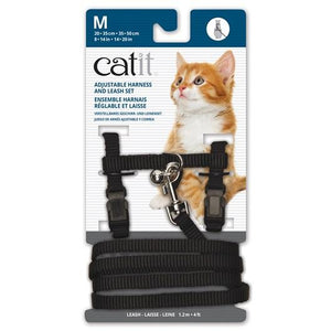 Catit Harness & Leash Black Medium