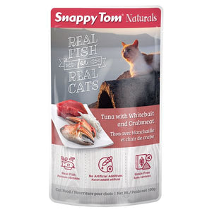 Snappy Tom Light Tuna w/Whitebait & Crab for Cats 100g