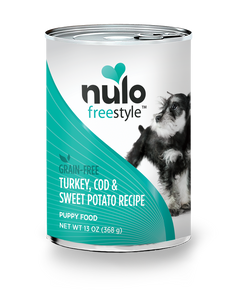 Nulo Freestyle Turkey, Cod & Sweet Potato Recipe for Puppies 13oz Can
