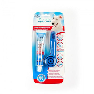 All for Paws Sparkle Easy Hold Finger Brush with Peanut Butter Toothpaste