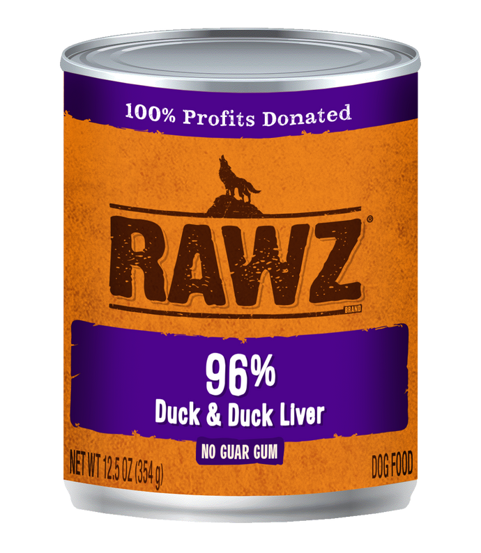 Rawz 96% Duck & Duck Liver for Dogs 12.5oz