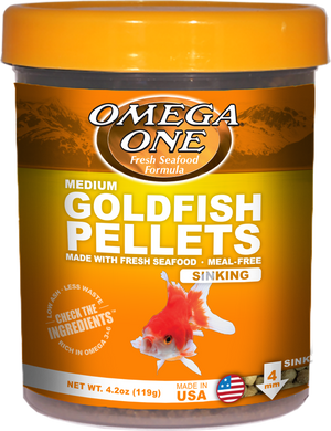 Omega One Goldfish Pellets (MED, 4mm) 8oz