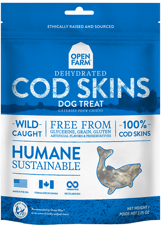 Open Farm Dehydrated Dog Treats - Cod Skin 2.25oz