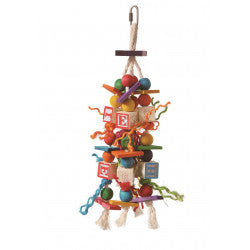PARROT BIRD TOY WITH ABC WOOD BLOCKS