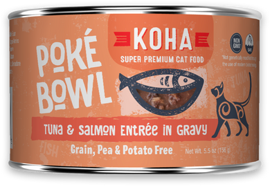 5.5oz KOHA Poke Bowl Tuna & Salmon Entree in Gravy for Cats