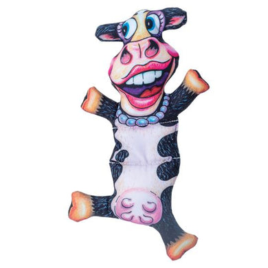 FUZZU Barnyard Flops Dog Toy Big Moo the Cow