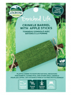 Oxbow Animal Health Enriched Life Crinkle Barrel with Apple Sticks