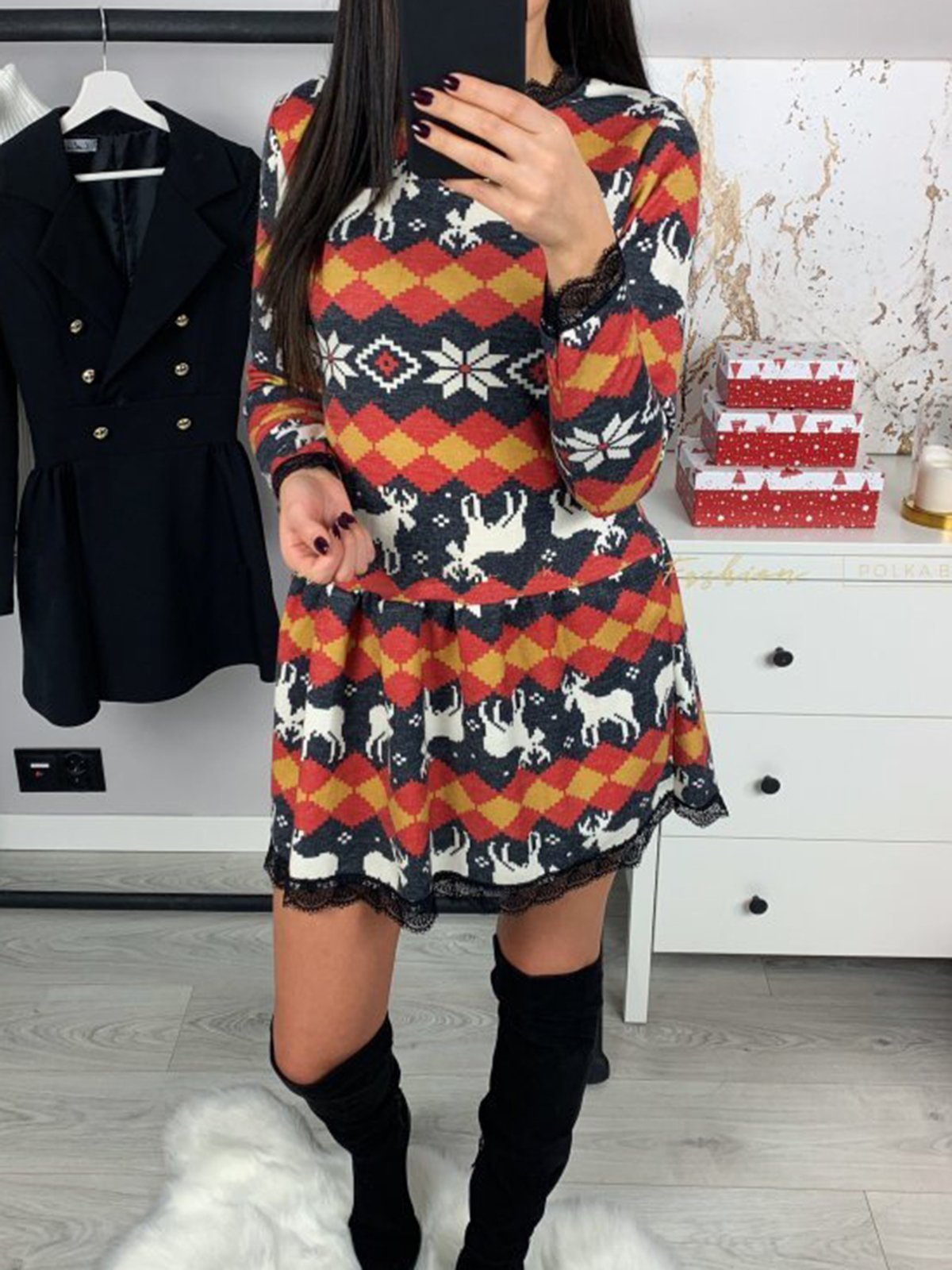 Casual Stand Collar Christmas Dresses