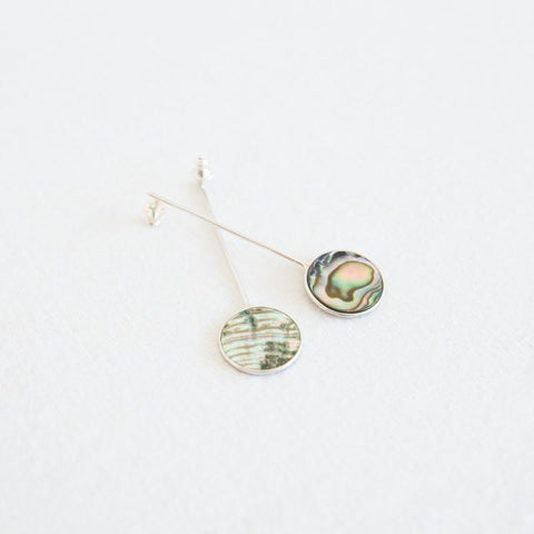 Coin Drop Earrings - Abalone