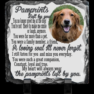 Pet Memorial Remembrance Custom Photo Stone, Pawprints, Angels have Paws, Rainbow Bridge Gift Personalized Photo Slate