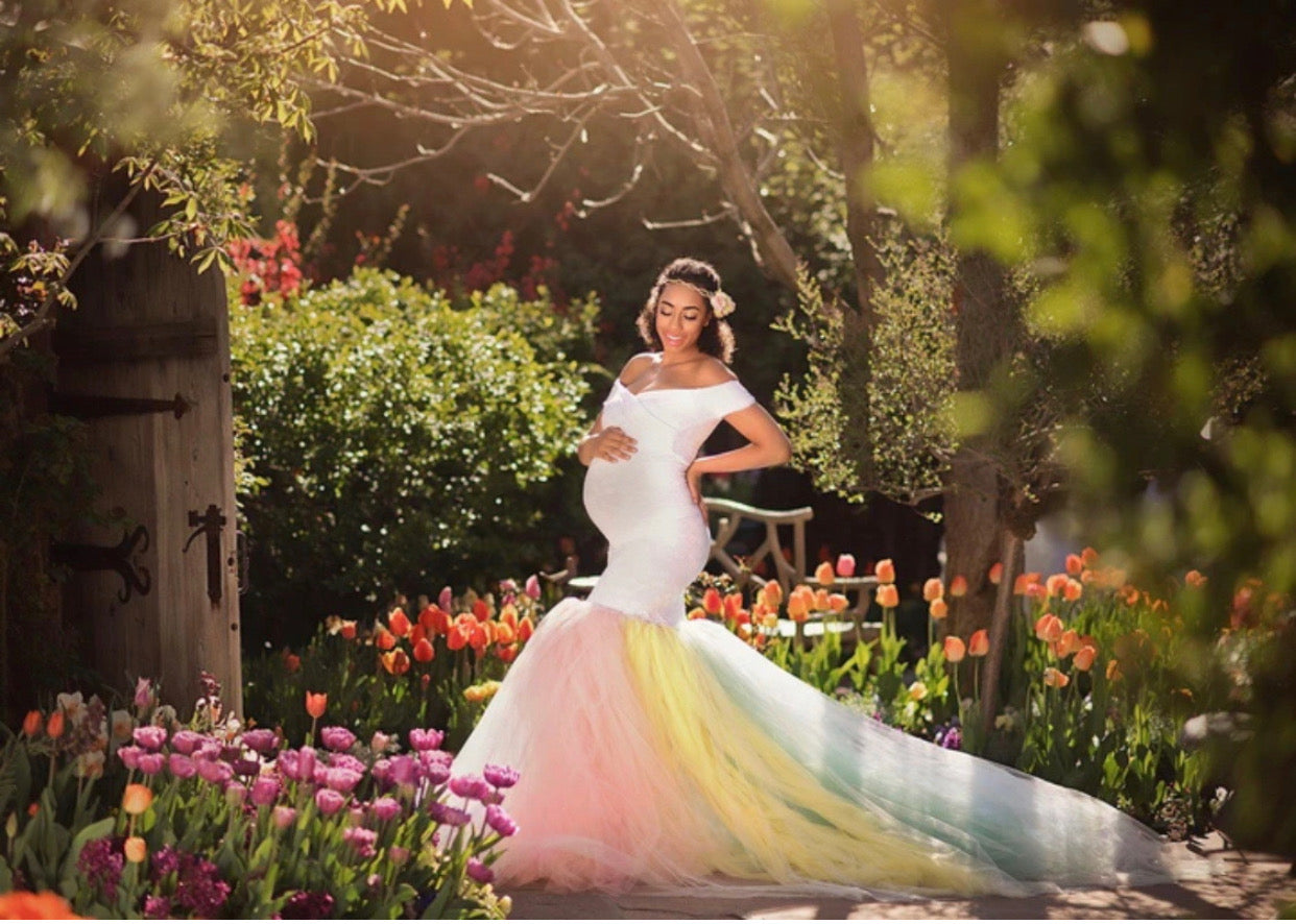 White Lace and Rainbow Maternity Photoshoot Dress