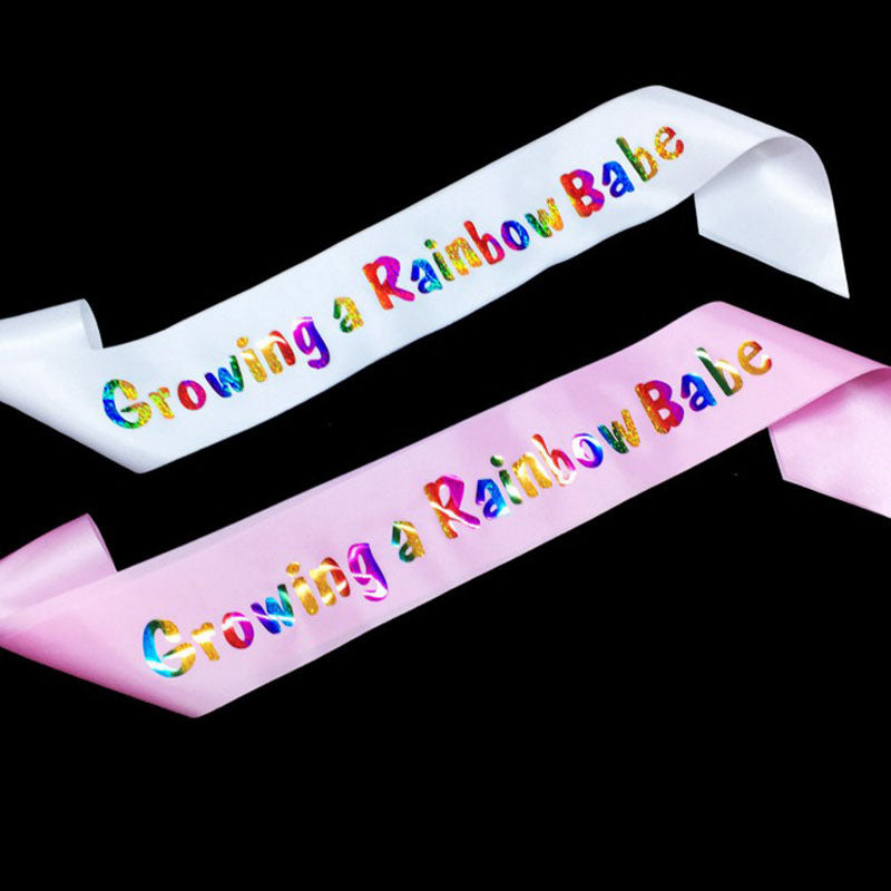 Baby Shower Sash - Growing a Rainbow Babe