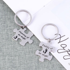 2-Piece Puzzle Mommy & Daddy of an Angel Keychain Set