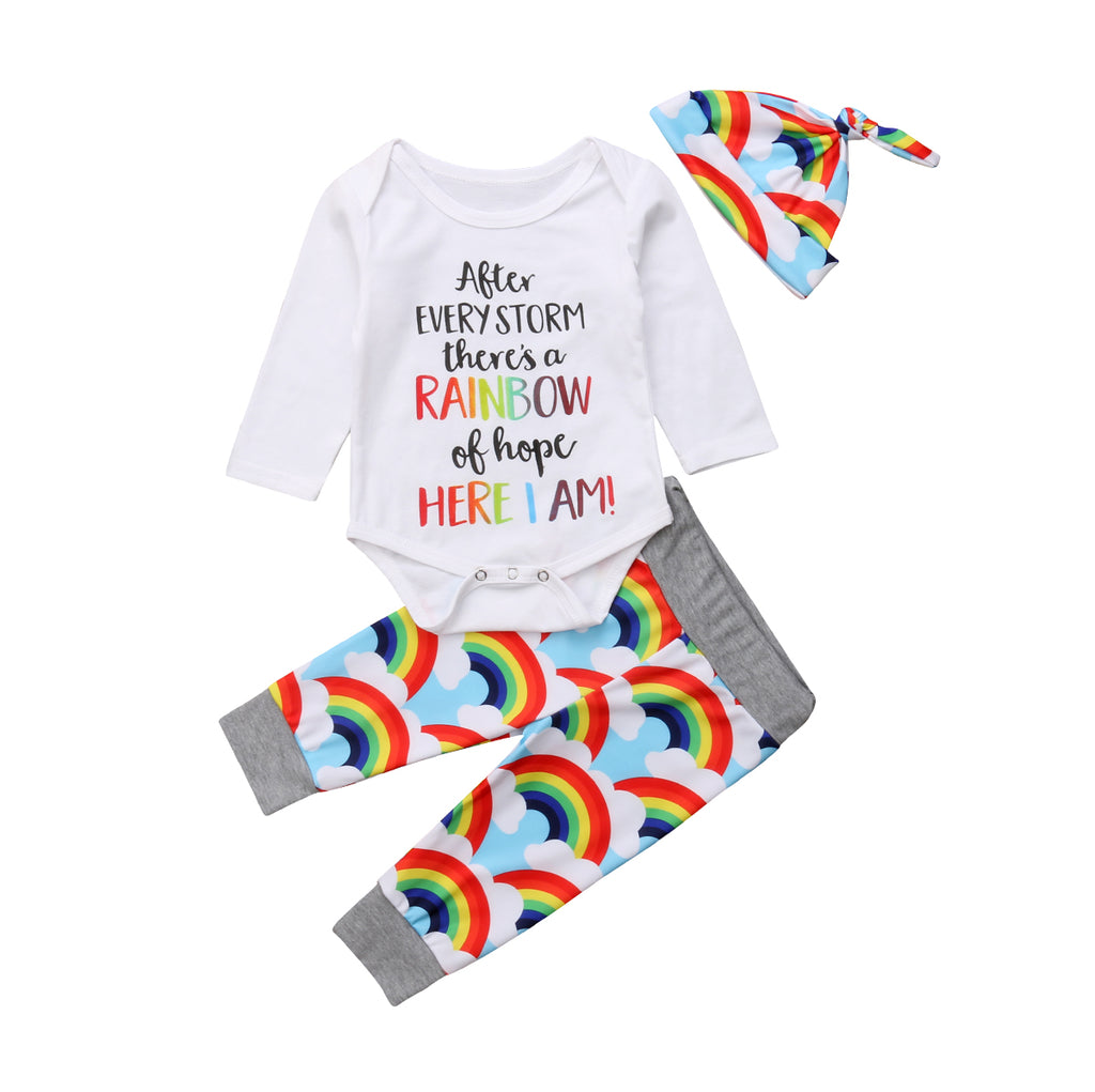 3 Piece Infant Rainbow Baby Set