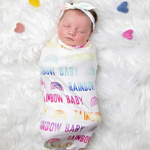 Rainbow Baby Swaddle Blanket plus Headband